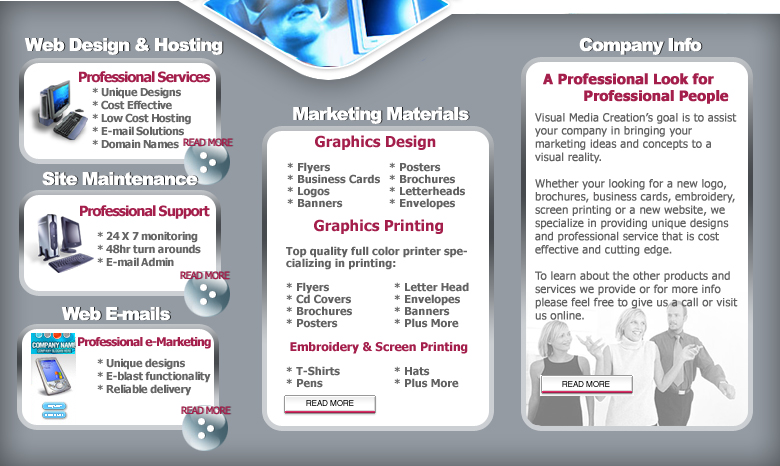 Visual Media Creations Web Design, Graphics Design, Graphics Printing, E-mail Marketing, Embroidery, Screen Print, Michigan, Detroit